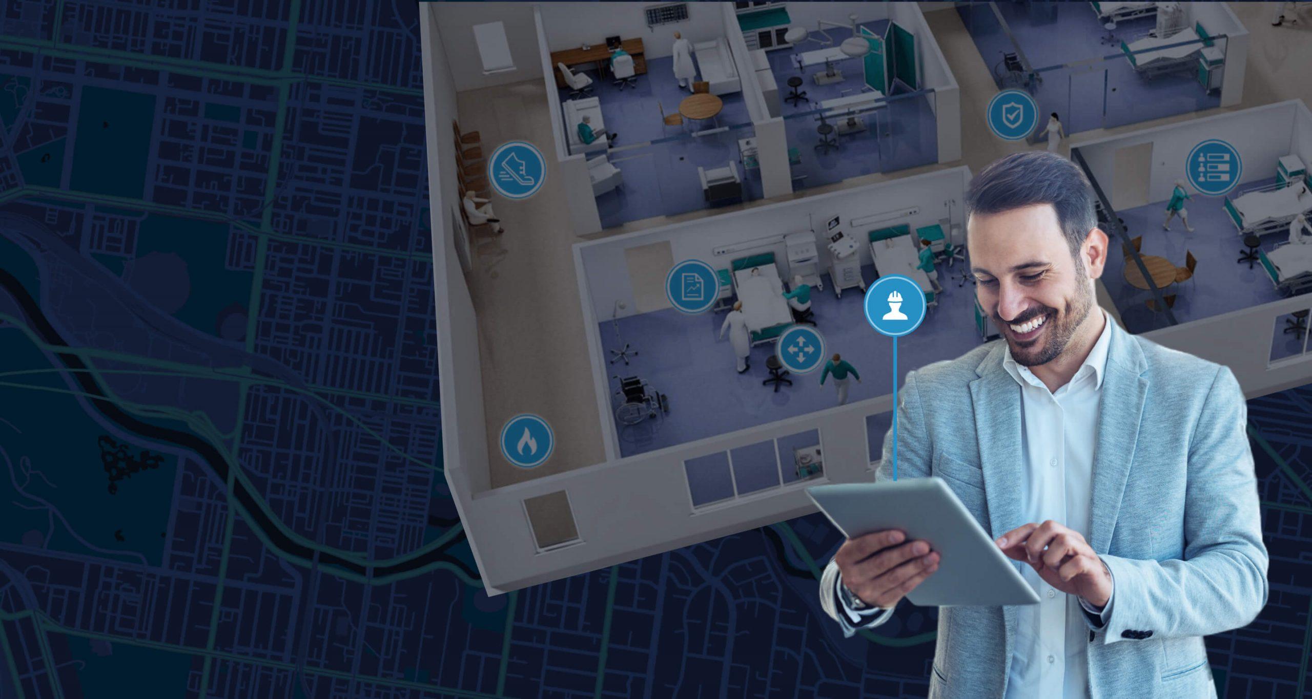 Man tracking assets with indoor map on the background